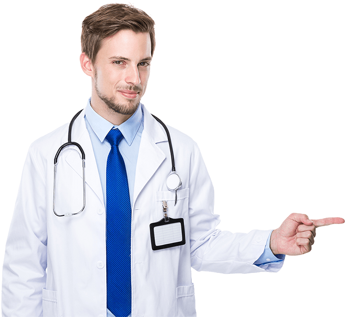doctor señalando con la mano